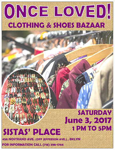 Once Loved! Clothing & Shoes Bazaar at Sistas' Place on June 3, 2017
