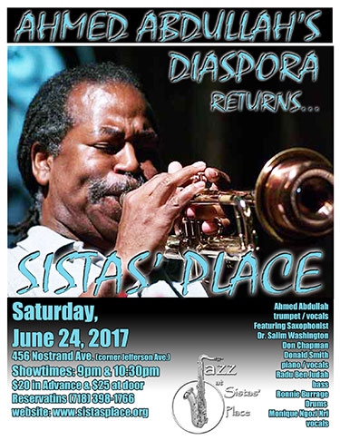 Ahmed Abdullah's Diaspora at Sistas' Place on Sat., June 20, 2017