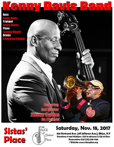 Kenny Davis Band with Jimmy Owens at Sistas' Place on November 18, 2017