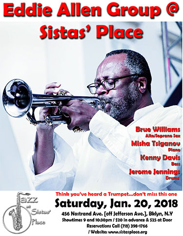 Eddie Allen at Sistas' Place jazz club on Saturday, January 20, 2018.