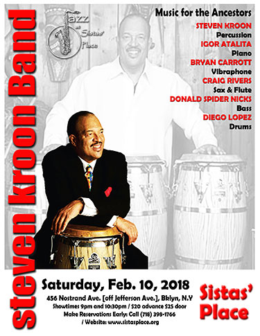 Steven Kroon Band at Sistas' Place on February 10, 2018