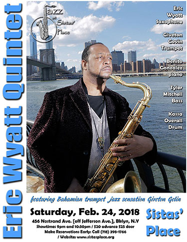 Eric Wyatt performs at Sistas' Place on February 24, 2018.
