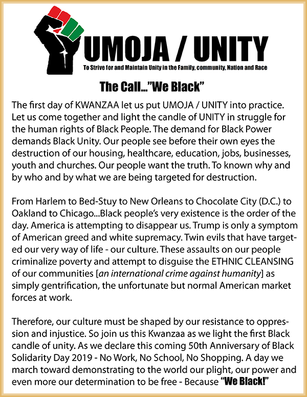 Kwanzaa program-Umoja