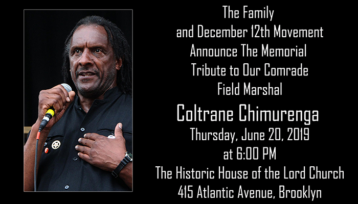 Memorial Tribute to Our Comrade Field Marshal, Coltrane Chimurenga