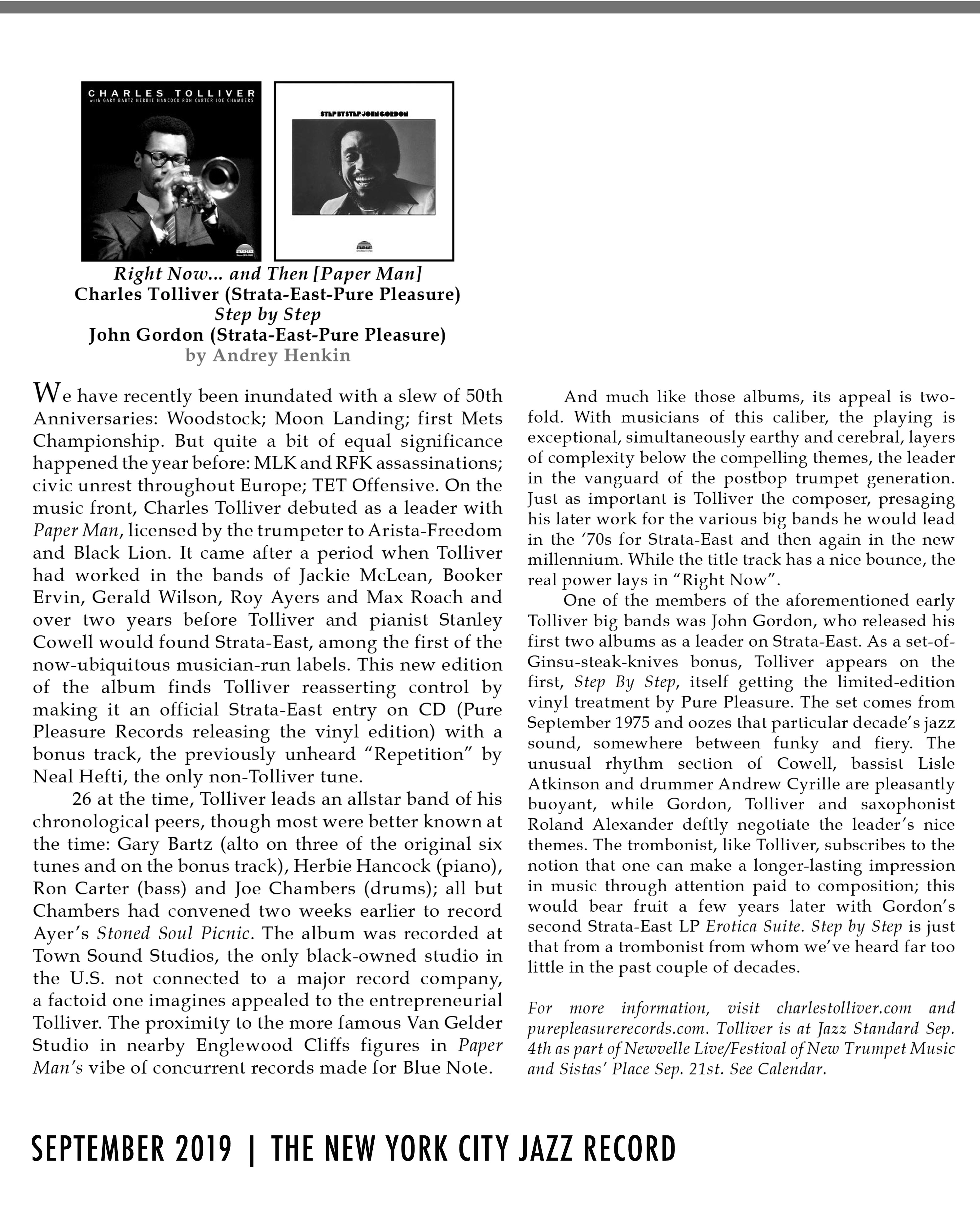 Charles Tolliver review in NYC Jazz Standard