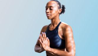 African American woman meditating